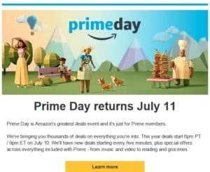 Prime Day 2017 email image
